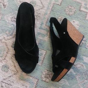 Black Leather UGG Wedges